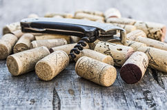 Corks with corkscrew Royalty Free Stock Photo