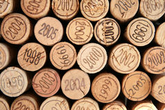 Corks with dates. Variety of wine corks with dates, may be used as a background Stock Photos