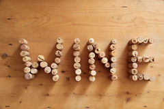 Corks forming the word wine Stock Photography