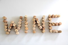 Corks forming the word wine Stock Photos
