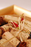 Corks and Golden plate Stock Image