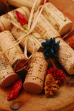 Corks and Golden plate. Various Corks and Golden plate decoration royalty free stock photo