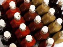Corks on hot sauces Stock Photo