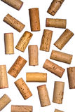 Corks randomly placed on white backdrop Stock Images