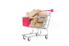 Corks in shopping cart. Wine shop conceptual image selling wine Royalty Free Stock Photos