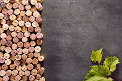Corks on a textured slate background. Multiple corks on a textured slate background forming a side border with green leaves in the bottom right corner and copy Royalty Free Stock Photo