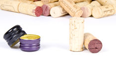 Corks Verse Screw Caps Royalty Free Stock Photography