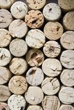 Corks vertical. Stacked pile of old wine corks viewed end on Royalty Free Stock Image