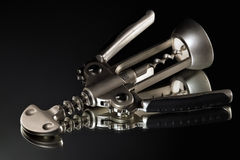 Corkscrew. Laying horizontally on a black background Royalty Free Stock Images
