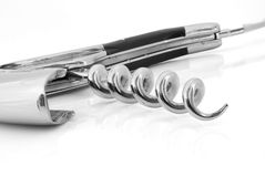 Corkscrew. Black and white isolated on white stock photography