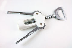 Corkscrew. For wine and cork on a white background Royalty Free Stock Image