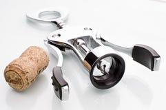 Corkscrew. Bottle cork and mechanical black - white corkscrew stock images