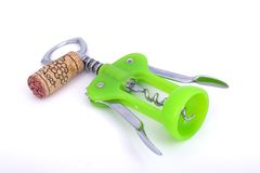 Corkscrew. And cork royalty free stock images