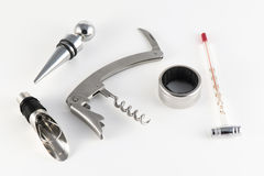 Corkscrew and accessories for wine stock photos