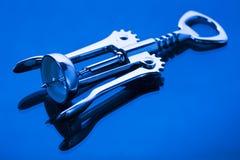 Corkscrew on blue Stock Image
