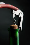 Corkscrew and bottle Royalty Free Stock Photo