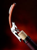 Corkscrew with bottle  Stock Photography