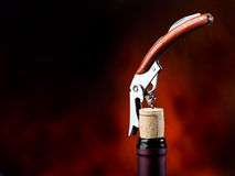 Corkscrew with bottle Royalty Free Stock Image