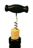 Corkscrew in bottle cork. Royalty Free Stock Photography