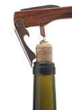 Corkscrew bottle is opened royalty free stock images
