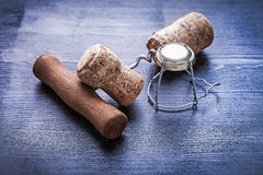 Corkscrew champagne cork and wire Stock Image