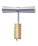Corkscrew com cortiça Imagens de Stock