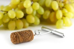 Corkscrew com cortiça do vinho Fotografia de Stock Royalty Free