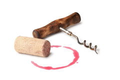 Corkscrew and Cork Stock Photography