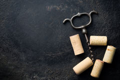 Corkscrew and cork Stock Images