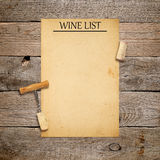 Corkscrew with cork and blank wine list Royalty Free Stock Photo