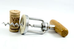 Corkscrew and cork Royalty Free Stock Photography