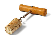 Corkscrew with cork Royalty Free Stock Photography