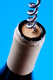 Corkscrew in cork in wine battle Stock Photography