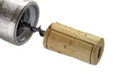 Corkscrew with cork. Stock Photography