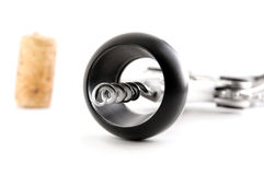 Corkscrew with cork from wine isolated Royalty Free Stock Photos