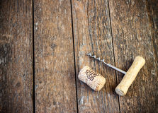 Corkscrew and cork from wine Stock Photography