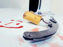 Corkscrew cork wineglass wine redwine cup Royalty Free Stock Images
