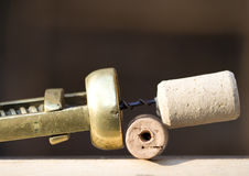 Corkscrew and corks stock image