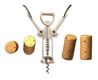 Corkscrew with corks. Isolated on white background Stock Photography