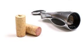 Corkscrew and corks Stock Photos