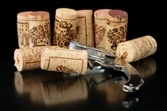 Corkscrew with corks 2 Royalty Free Stock Photos