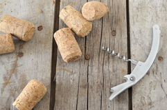 Corkscrew and corks Royalty Free Stock Image