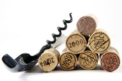 Corkscrew and corks as pyramid Royalty Free Stock Images