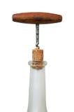 Corkscrew, cortiça e frasco Imagem de Stock