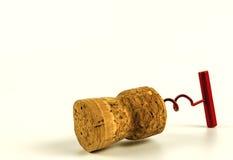 Corkscrew do tampão do vinho no close up em um fundo branco Foto de Stock Royalty Free