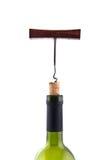Corkscrew do vinho na cortiça da garrafa no pescoço da garrafa isolada Fotos de Stock Royalty Free