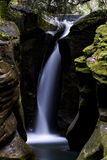 Corkscrew Falls - Hocking Hills. The elusive Corkscrew Falls within the Hocking Hills region of southeast Ohio. The hike to this pristine and rare waterfall Stock Images