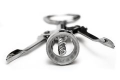 Corkscrew (Front View). Metal corkscrew. Shallow depth of field. Focus on spiral Stock Photo