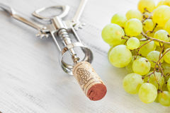 Corkscrew, grape and wine corks Royalty Free Stock Images