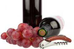 Corkscrew and grapes Royalty Free Stock Photo